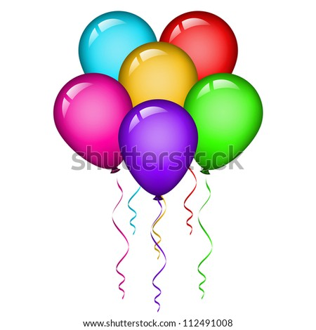illustration of colorful balloons - stock photo