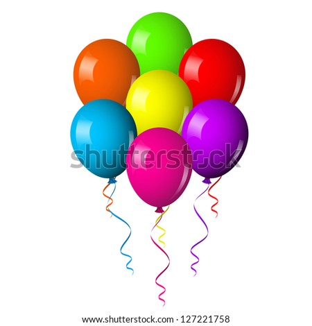 Illustration of colorful Balloons Bouquet - stock photo