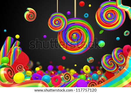 illustration of colorful candy for wallpaper - stock photo