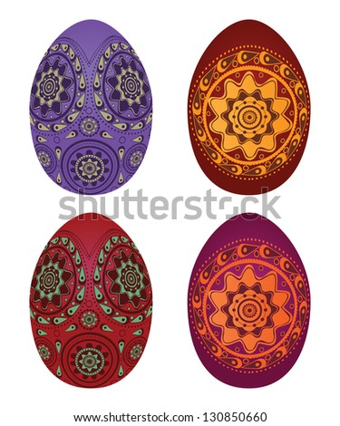 Illustration of colorful easter eggs on white background. - stock photo