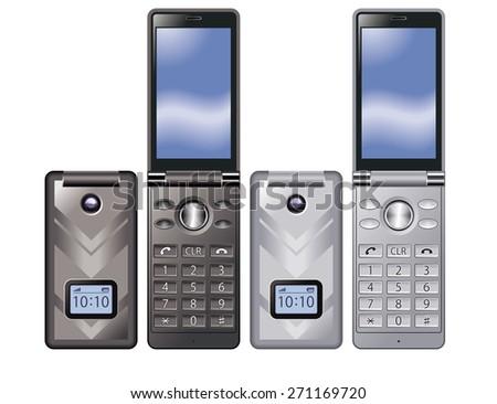 Illustration of colorful Flip Phone. Simple design./ Black, Silver. - stock photo