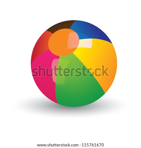 Illustration of colorful shining beach ball. The balls graphic has gradients of red, yellow, blue, green and other vivid colors and and is placed on white background - stock photo