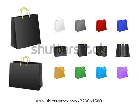 Illustration of colorful shopping bags collection isolated - stock photo