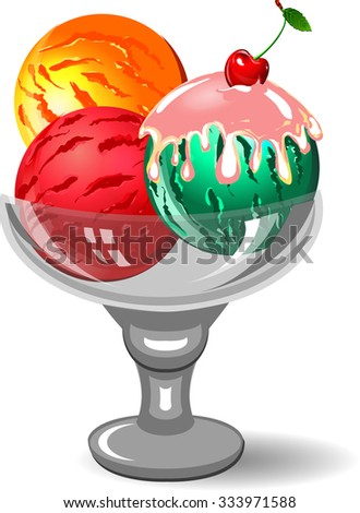 Illustration of colorful tasty isolated ice cream in glass cup.  - stock photo