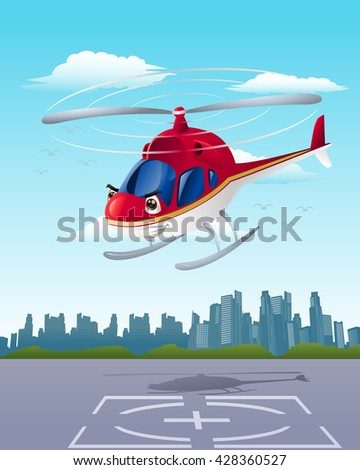 illustration of commercial red helicopter on hangar background