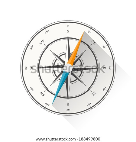 Illustration of compass diagram isolated on white background