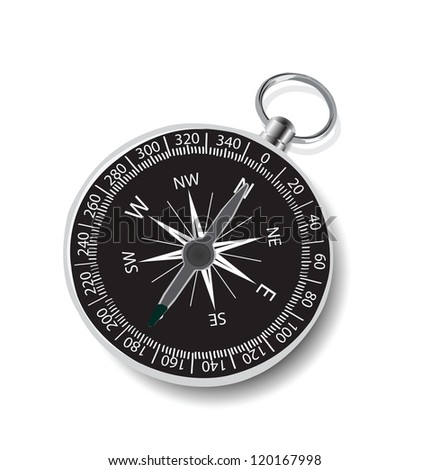 Illustration of compass on white background.