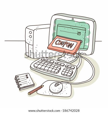 Illustration of computer on sale