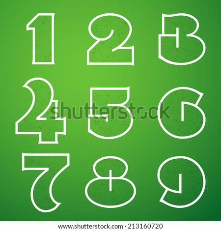 Illustration of Connections Alphabet Font Set 4 1 to 9 - stock photo