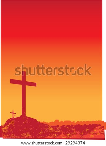 illustration of 3 crucifixion crosses on hill at sunset - stock photo