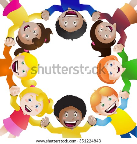 illustration of  cultural children holding hands in circle on isolated white background
