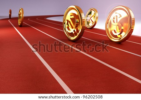 illustration of currency of different nation racing on track - stock photo