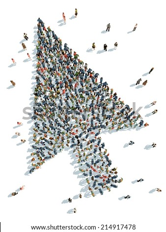 illustration of cursor with people - stock photo