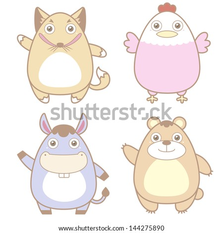 illustration of cute animal icon collection. - stock photo
