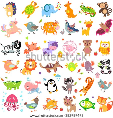 Illustration of cute animals and birds: Yak, quail, vampire bat, cow, sheep, bear, owl, raccoon, hedgehog, whale, panda, lion, deer, x-ray fish, fox, quail, elephant, monkey, unicorn, numbat