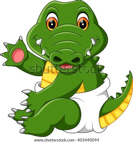 illustration of cute baby crocodile cartoon - stock photo