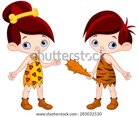 Illustration of cute cave boy and club cave girl   - stock photo