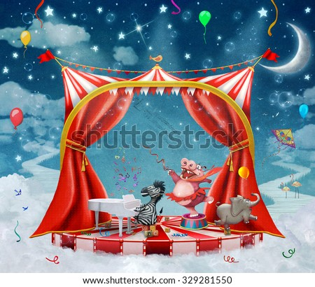Illustration of cute circus  animals on stage in sky  - stock photo
