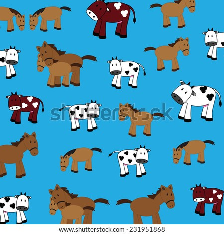 illustration of cute cows and horses on a white background - stock photo