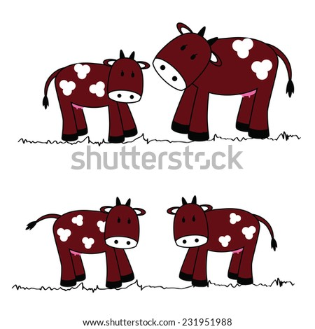 illustration of cute cows on a white background - stock photo