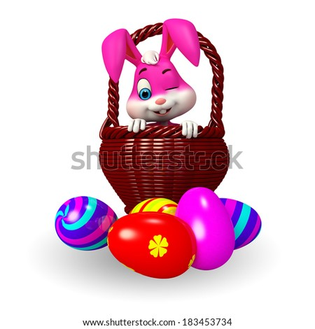 Illustration of cute Easter bunny with eggs basket - stock photo