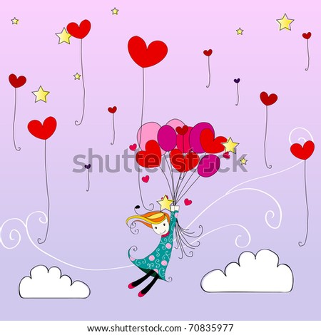 Illustration of cute girl flying away on heartshaped balloons