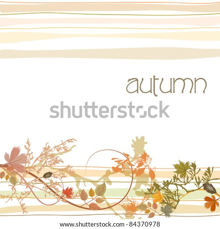 illustration of cute hand drawn style autumn scene with leaves