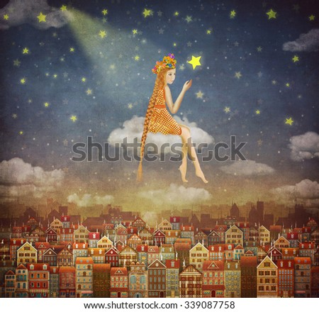 Illustration of cute houses with a little girl on clouds in night sky - stock photo