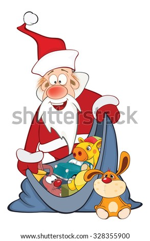 Illustration of Cute Santa Claus and a Sack Full of Gifts. Cartoon Character
