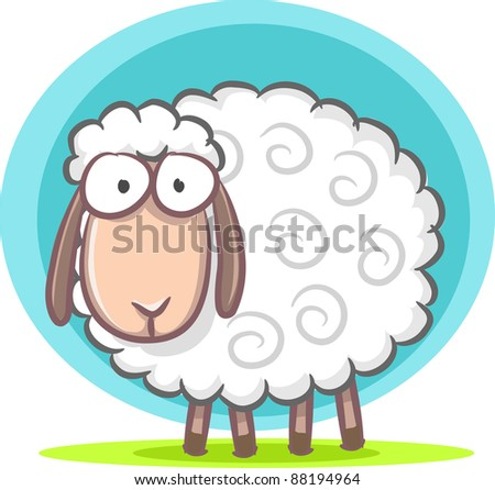 Illustration of cute sheep - stock photo