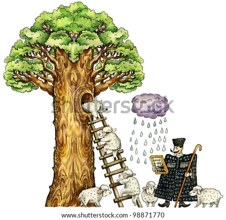 Illustration of cute sheep, hiding from a rain in hollow of enormous tree trunk, and caucasian shepherd. Isolated on white. - stock photo