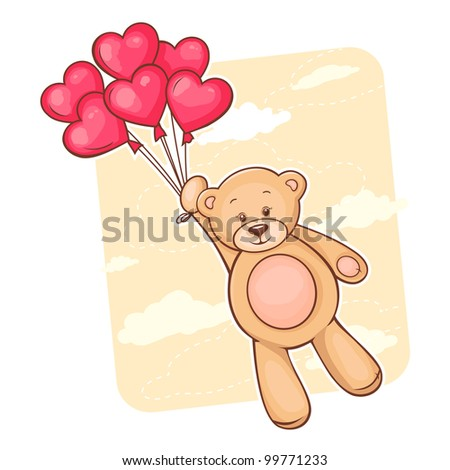 Illustration of cute Teddy Bear with red heart balloons.