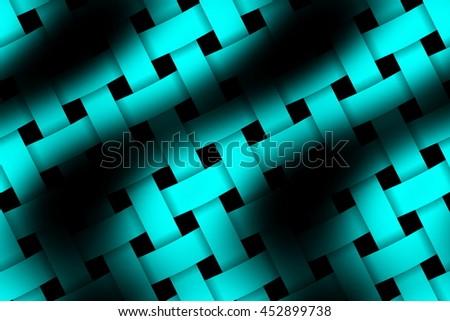 Illustration of cyan and black weaved pattern - stock photo