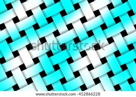 Illustration of cyan and white weaved pattern - stock photo