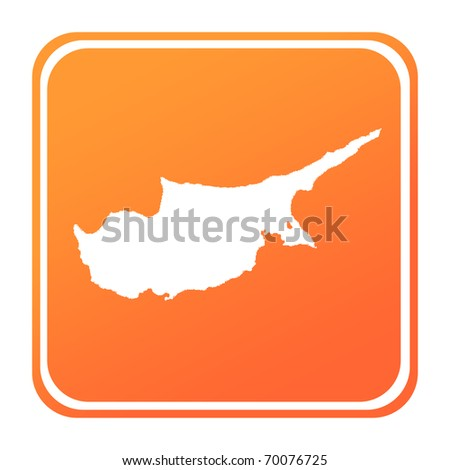 Illustration of Cyprus map button; isolated on white background. - stock photo