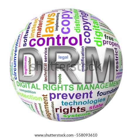 Illustration of 3d ball wordcloud tags of drm digital rights management