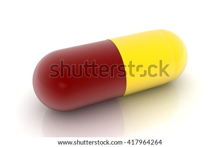 Illustration of 3d capsule pill isolated on white - stock photo