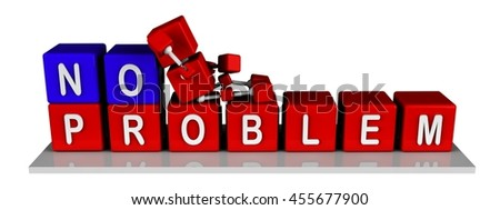 illustration of 3d character red cube sitting on cubes with no problem word, isolated white background