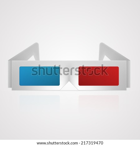Illustration of 3d cinema glasses. Gray 3d cinema glasses with red and blue lens. Isolated illustration on gray. - stock photo