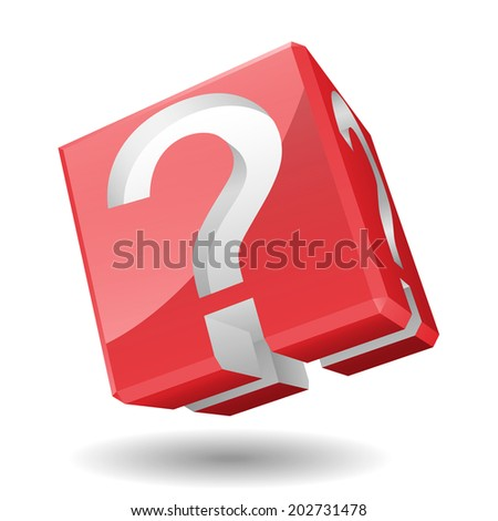 Illustration of 3D cube with question mark symbol.