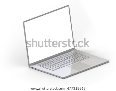 Illustration of 3D grey glossy laptop isolated on white background isometric