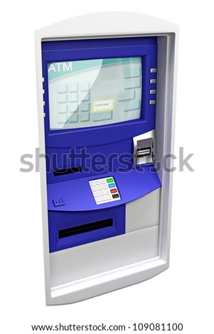 illustration of 3d image for bank ATM machine panel - stock photo