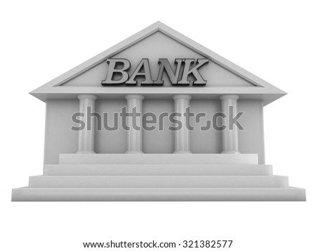 illustration of 3d image of Bank building in marble