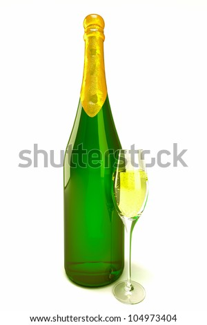 illustration of 3d image of champagne bottle and glass - stock photo