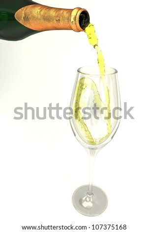 illustration of 3d image of champagne bottle pouring in glass - stock photo