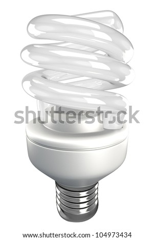 illustration of 3d image of energy saving fluorescent light bulb - stock photo