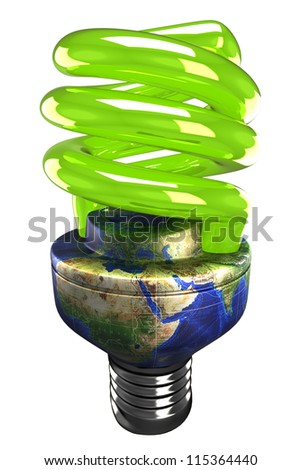 illustration of 3d image of energy saving fluorescent light bulb with earth holder - stock photo