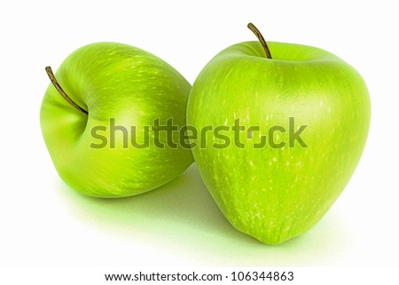illustration of 3d image of glossy fresh green apple