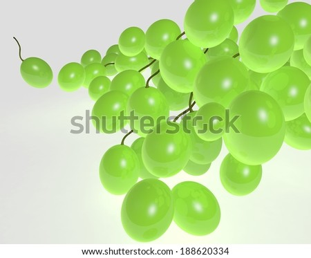illustration of 3d image of green grapes.