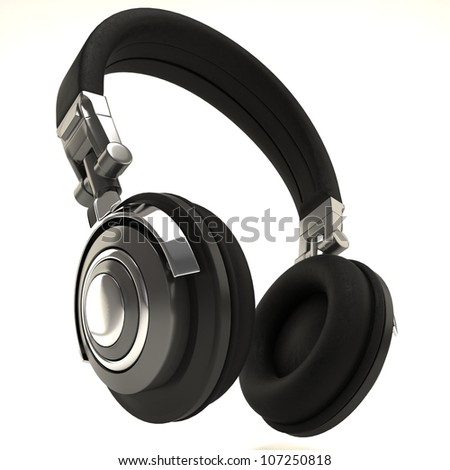 illustration of 3d image of headphone against white background - stock photo